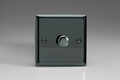 Varilight 1 Gang 1 or 2 Way 400W Push on/off Dimmer Light Switch Iridium Black HI3
